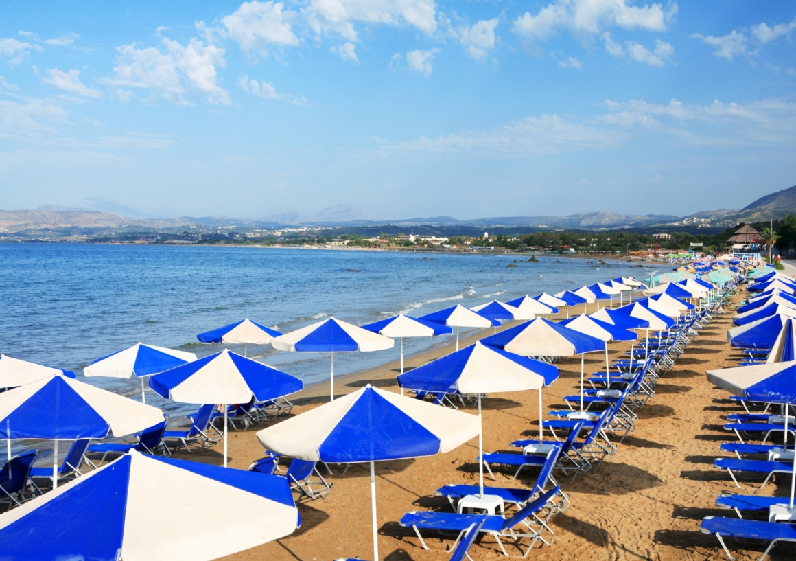 'A view of sunbeds awaiting tourists at the Greek island resort of Georgioupolis on Crete's north coast.' - Chania